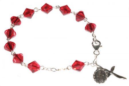 Siam Red Swarovski Crystal Rosary Bracelet