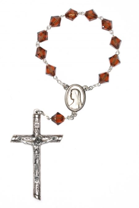 Smoke Topaz Swarovski Pocket or Auto Rosary