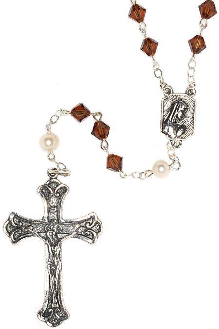 Smoke Topaz Swarovski Crystal Sterling Silver Rosary (Nov)