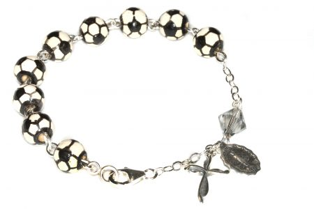 Soccer Ceramic Sport Sterling Silver Rosary Bracelet