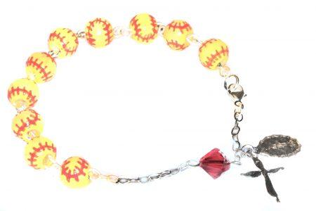 Softball Ceramic Sport Sterling Silver Rosary Bracelet