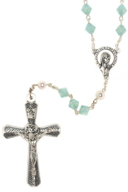 Pacific Opal Rosary made with Swarovski Crystals (October)