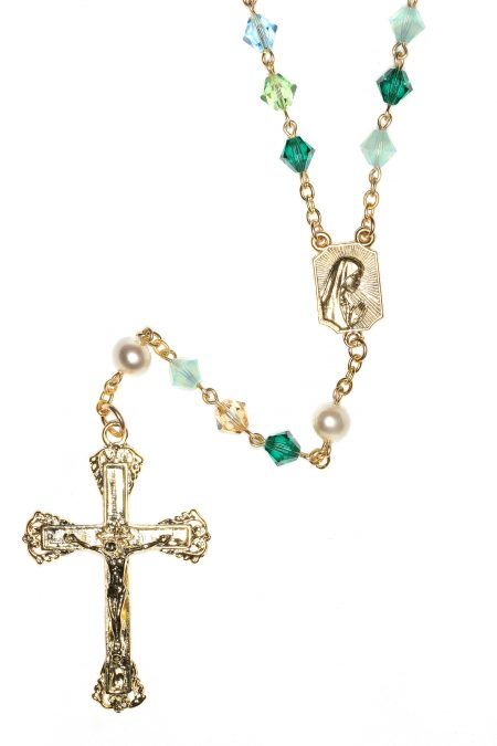 Custom Birthstone Crystal Rosary - Gold Plate Sterling
