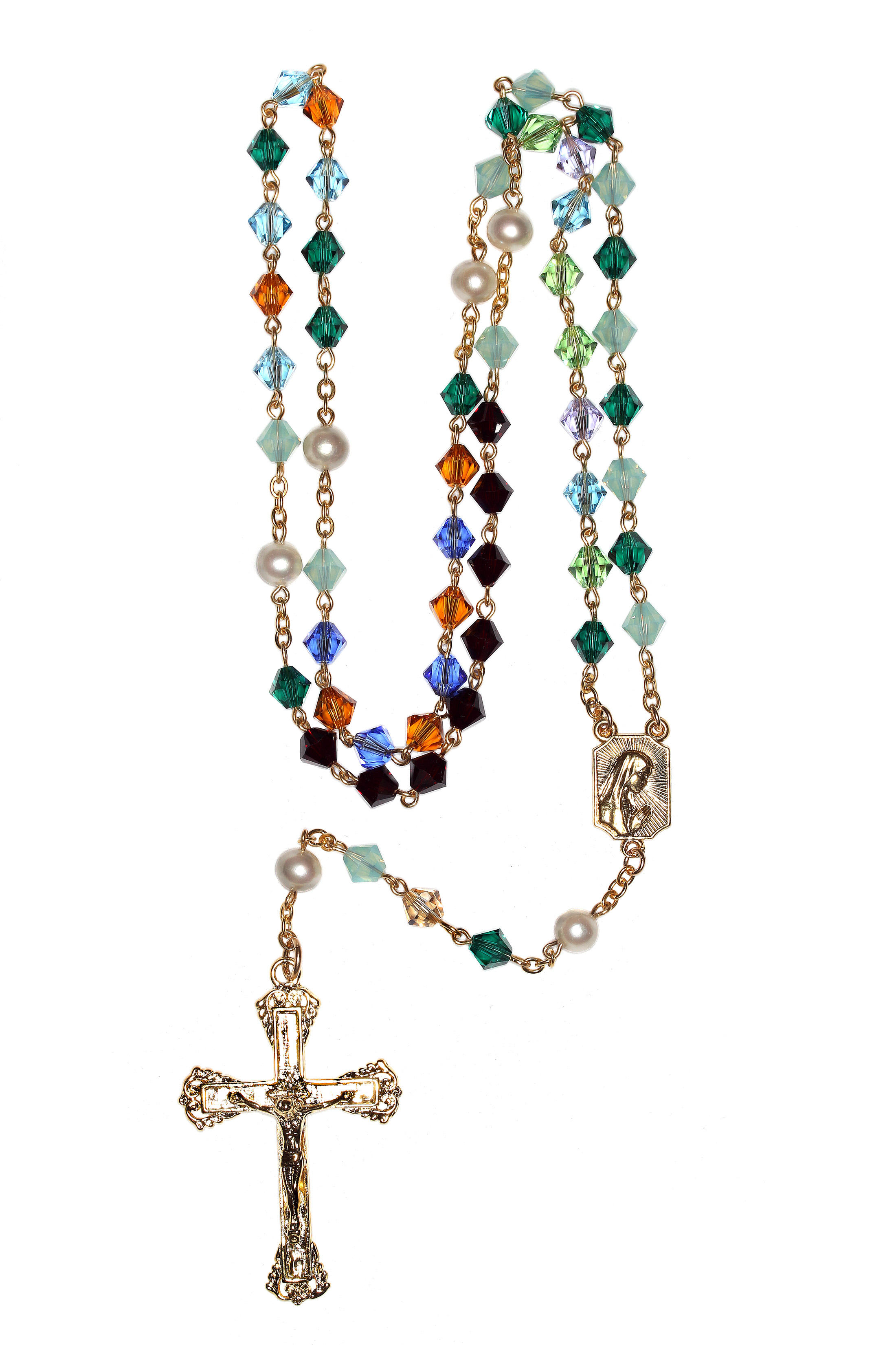 e35baa1e8 Custom Birthstone Crystal Rosary - Gold Plate Sterling | Shop Rosaries