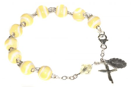 Tennis Ceramic Sport Sterling Silver Rosary Bracelet