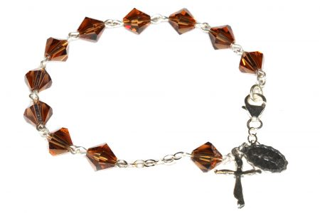 Smoke Topaz Swarovski Crystal Rosary Bracelet