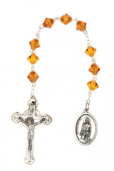 Topaz Swarovski Crystal St. Peregrine Chaplet (November)