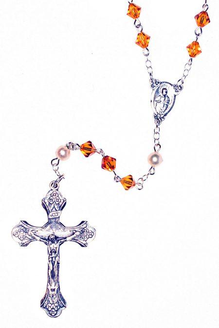 Topaz Swarovski Crystal Sterling Silver Rosary (November)