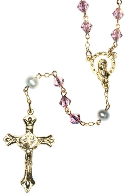 Vintage Rose Rosary made with Swarovski Crystals (Gold)