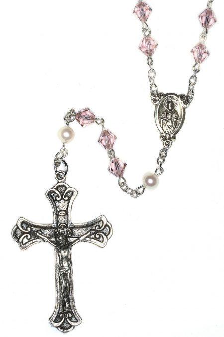 Vintage Rose Swarovski Crystal Sterling Silver Rosary