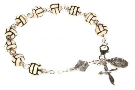 Volleyball Ceramic Sport Sterling Silver Rosary Bracelet