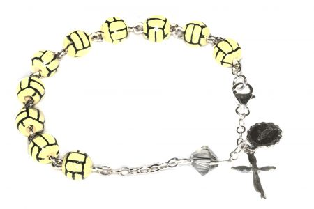 Water Polo Ceramic Sport Sterling Silver Rosary Bracelet