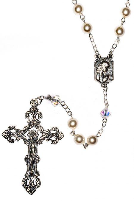 White Pearlized Swarovski Crystal Sterling Silver Rosary