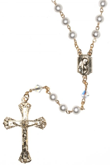 White Pearlized Gold Plate Rosary made with Swarovski Crystals