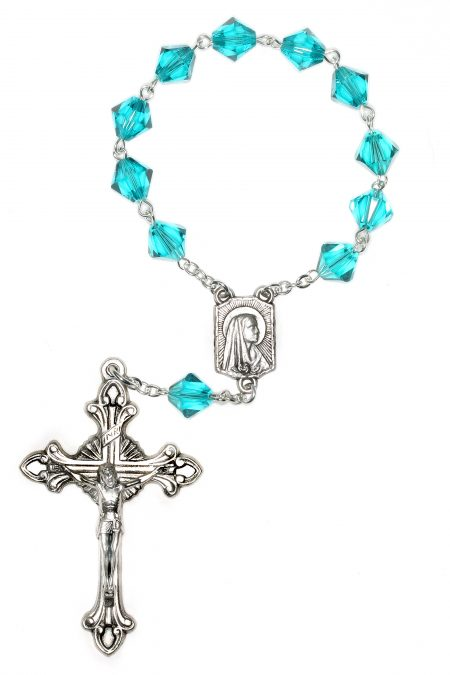 Zircon Swarovski Pocket or Auto Rosary (December)