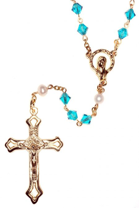 Zircon Rosary made with Central European Crystals - Gold (December)