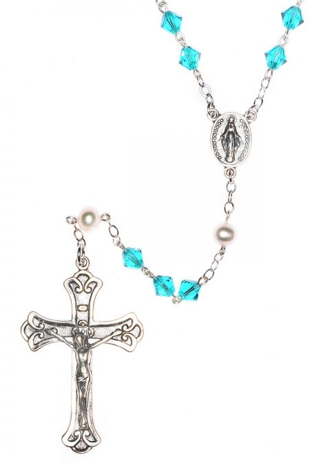 Zircon Swarovski Crystal Sterling Silver Rosary (December)