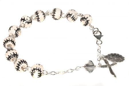 Baseball Ceramic Sport Sterling Silver Rosary Bracelet