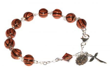 Basketball Ceramic Sport Sterling Silver Rosary Bracelet