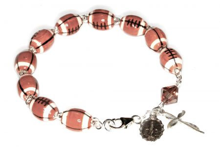 Football Ceramic Sport Sterling Silver  Rosary Bracelet