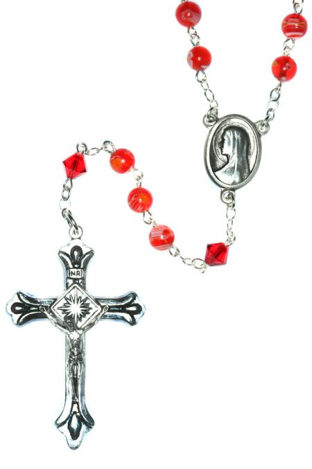 Murano Glass Red Millifiori Many Flowers Rosary