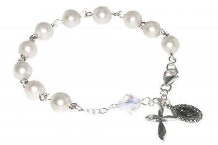 Cultured Freshwater Pearl Swarovski Crystal Rosary Bracelet